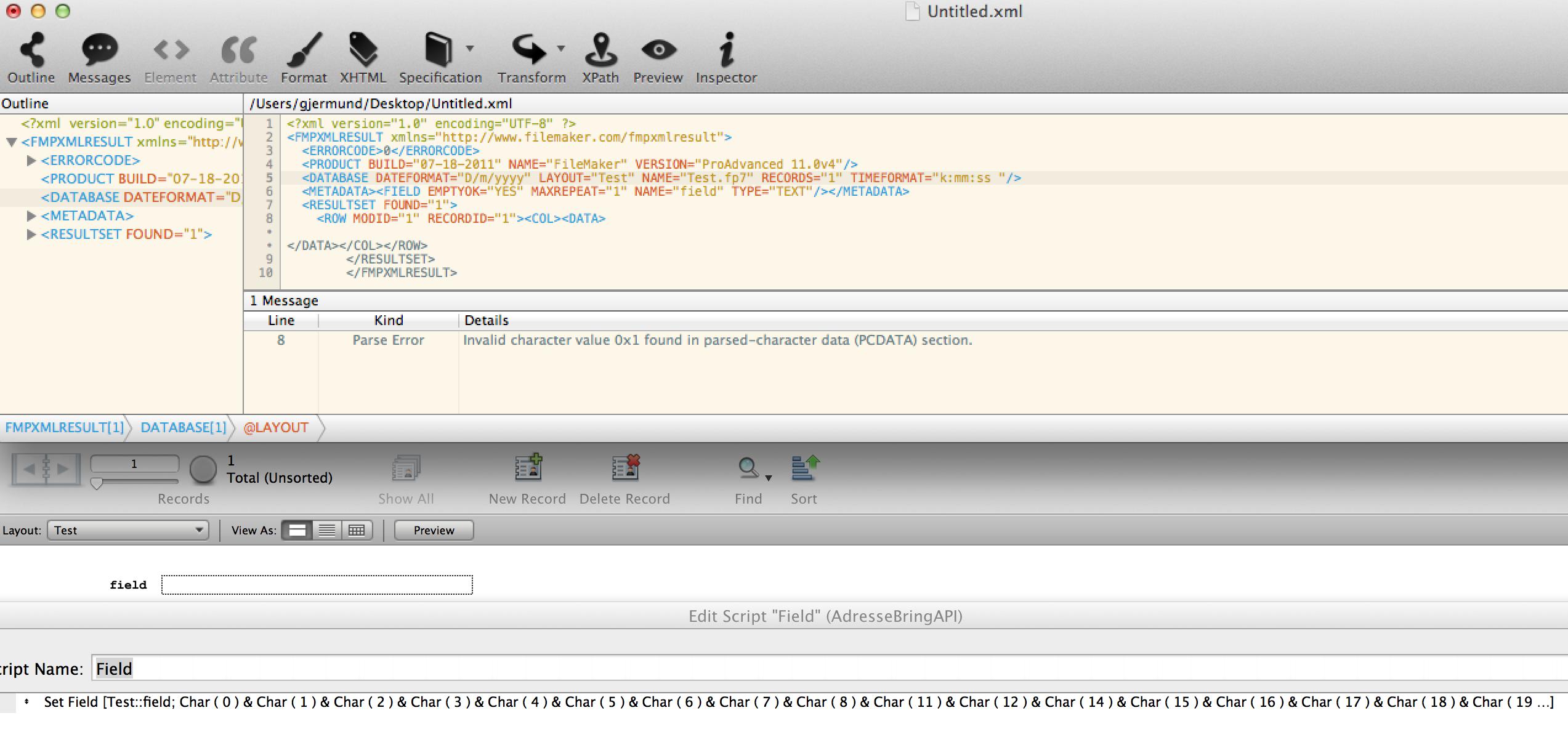 0x0 - illegal xml character - XML/XSL - FMForums.com